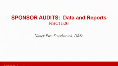 Monitoring and Auditing Bootcamp Session 4: Sponsor Audits: Data Handling and Reports (2016)