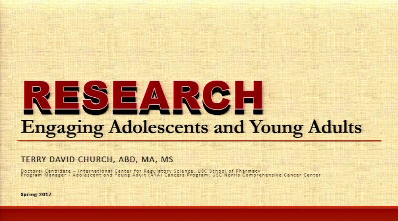 Special Populations Bootcamp Session 4:  Research - Engaging Adolescents and Young Adults (2017)