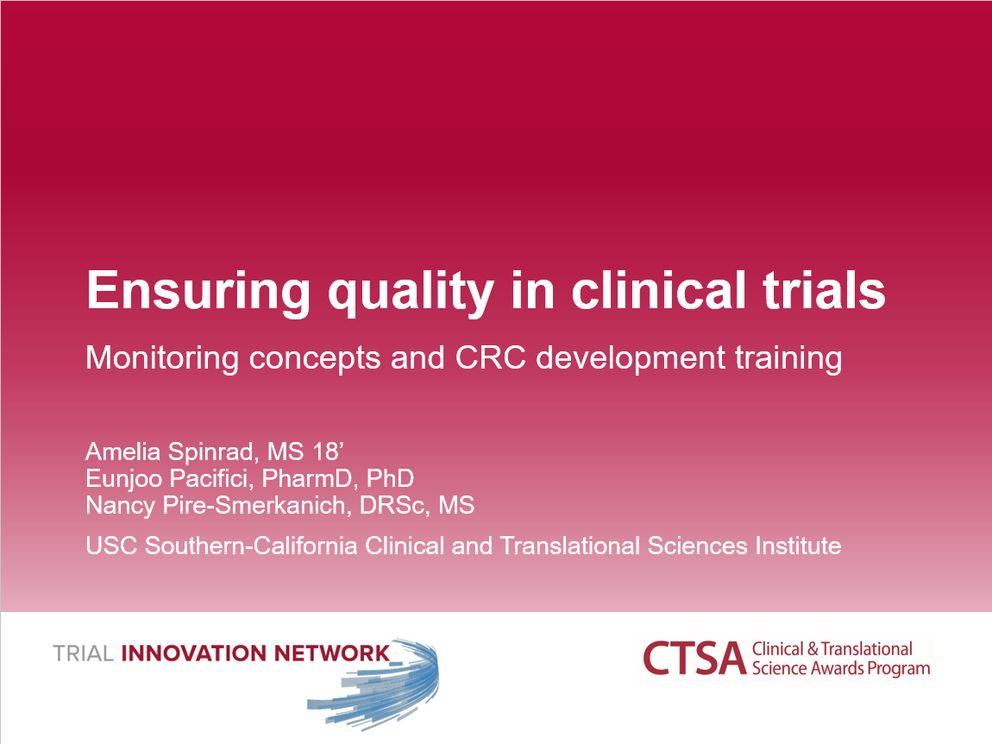 Ensuring quality in clinical trials: monitoring concepts and CRC development training